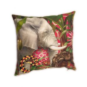 Cotton Linen Blend Pink Elephant Jungle Cushion ethically made in Africa