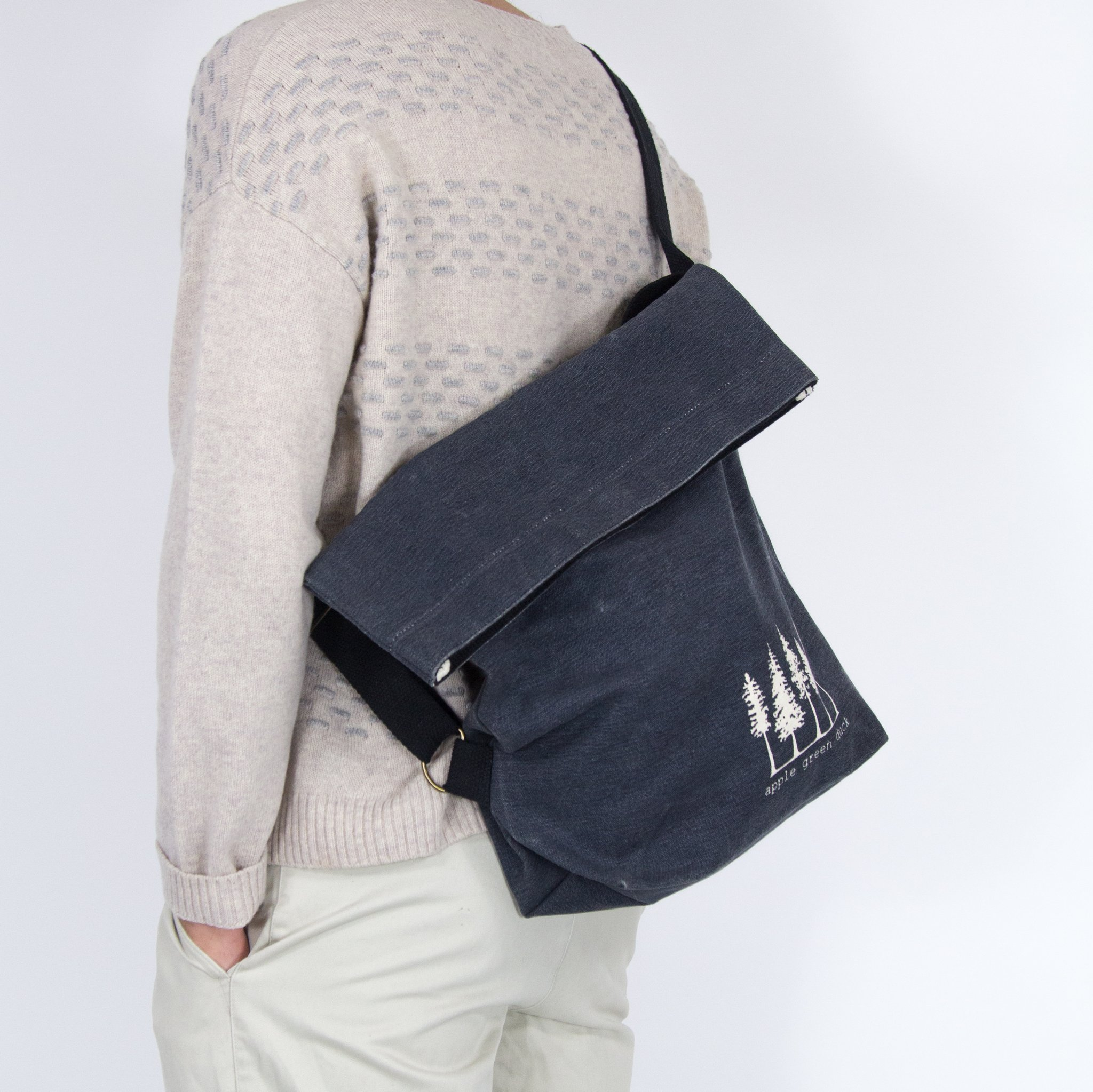 navy canvas sling tote